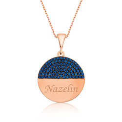 Gumush - Gümüş Mavi Taşlı İsimli Bayan Kolye