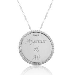 Gumush - Gümüş Taşlı Kişiye Özel İsimli Bayan Kolye