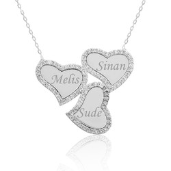 Gumush - Gümüş İsimli Üç Kalpli Bayan Kolye