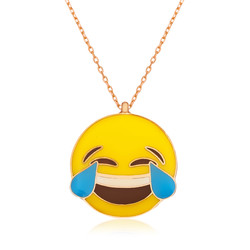 Gumush - Gümüş Kahkaha Atan Emoji Bayan Kolye