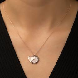 Gümüş Kalbe Giden Kalp Kolye - Thumbnail