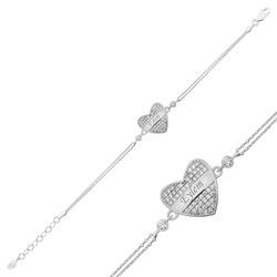 Gumush - Gümüş İsimli Kalp Bayan Bileklik