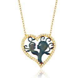 Gumush - Gümüş Kalpli Anne Çocuk Kolyesi