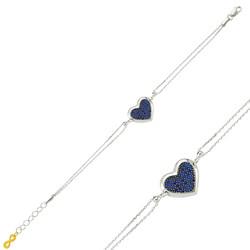 Gumush - Gümüş Mavi Kalpli Bayan Bileklik