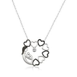 Gumush - Gümüş Kalp Çemberi Anne Çocuk Bayan Kolye