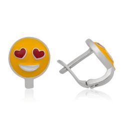 Gumush - Gümüş Kalp Gözlü Emoji Çocuk Küpesi