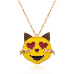 Gumush - Gümüş Kalp Gözlü Kedi Emoji Bayan Kolye