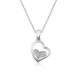 Gumush - Gümüş Kalp İçinde Kalp Bayan Kolye