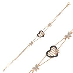 Gumush - Gümüş Kalpli Kelebek Bayan Bileklik