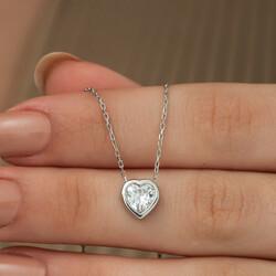 Gümüş Kalp Bayan Kolye - Thumbnail