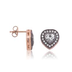 Gumush - Gümüş Elmas Montür Kalp Çivili Küpe