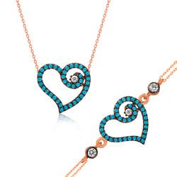 Gumush - Gümüş Mavi Kalpli Bayan Set
