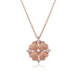 Gumush - Gümüş Kalp Yapraklı Çiçek Kolye