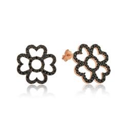 Gumush - Gümüş Kalp Yapraklı Çiçek Küpe