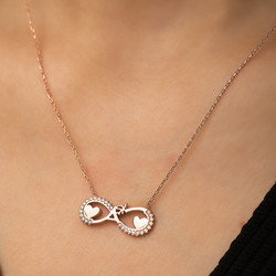 Gümüş Kalpli Sonsuz Aşk Kolye - Thumbnail