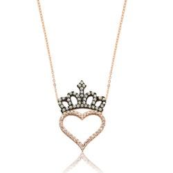Gumush - Gümüş Kalp Kraliçe Tacı Bayan Kolye