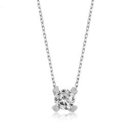 Gumush - Gümüş Kalpli Tek Taş Bayan Kolye