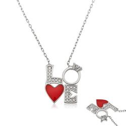 Gumush - Gümüş Kalpli Tek Taş Love Kolye