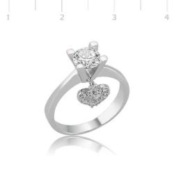 Gumush - Gümüş Kalp Tek Taş Bayan Yüzük