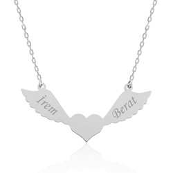 Gumush - Gümüş Kanatlı Kalp İsimli Bayan Kolye