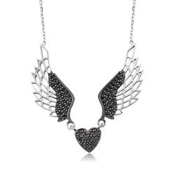 Gumush - Gümüş Siyah Kanatlı Kalp Bayan Kolye