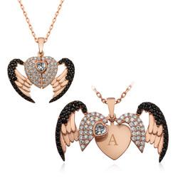 Gumush - Gümüş Kişiye Özel Kanatlı Kalp Bayan Kolye