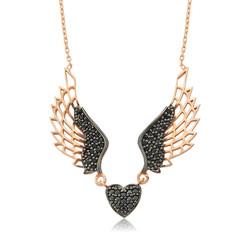 Gumush - Gümüş Kanatlı Kalp Bayan Kolye