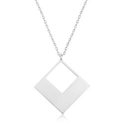 Gumush - Gümüş Kare Bayan kolye