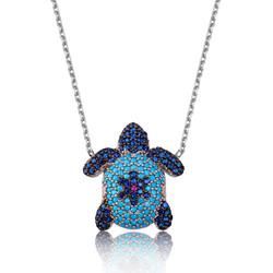 Gumush - Gümüş Mavi Kaplumbağa Bayan Kolye