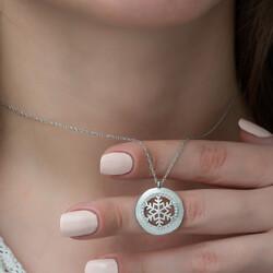 Gümüş Kar Tanesi Bayan Kolye - Thumbnail