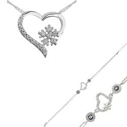 Gumush - Gümüş Kalp Kar Tanesi Bayan Set