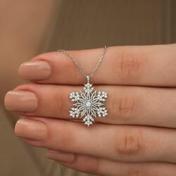 Gümüş Kar Tanesi Kolye - Thumbnail