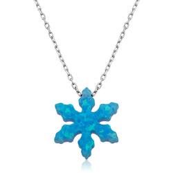 Gumush - Gümüş Mavi Opal Taş Kar Tanesi Bayan Kolye
