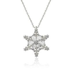 Gumush - Gümüş Çiçek Desenli Kar Kanesi Bayan Kolye