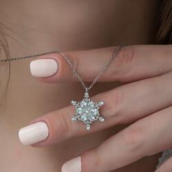 Gümüş Çiçek Desenli Kar Kanesi Bayan Kolye - Thumbnail