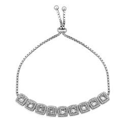 Gumush - Gümüş Kare Baget Taşlı Asansörlü Bileklik