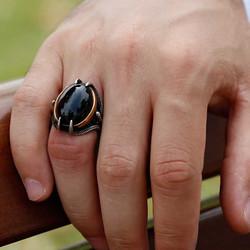 Gumush - Gümüş Siyah Taşlı Kartal Pençesi Erkek Yüzük (1)