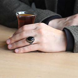 Gümüş Siyah Taşlı Kartal Pençesi Erkek Yüzük - Thumbnail