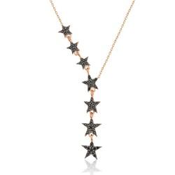 Gumush - Gümüş Siyah Kayan Yıldızlar Bayan Kolye
