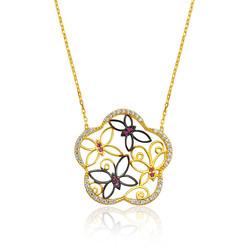 Gumush - Gümüş Kelebek Çiçeği Bayan Kolye