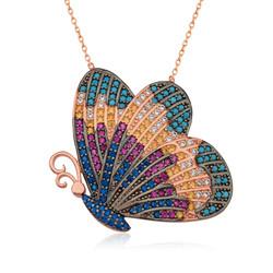 Gumush - Gümüş Renkli Kelebek Kolye