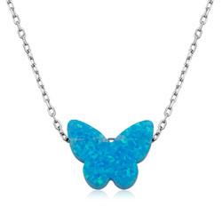 Gumush - Gümüş Mavi Opal Taş Kelebek Bayan Kolye