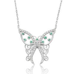 Gumush - Gümüş Desenli Kelebek Bayan Kolye