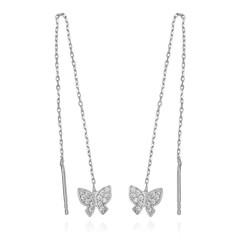 Gumush - Gümüş Zincirli Kelebek Küpe