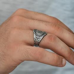 Gümüş Kelime-i Tevhid Erkek Yüzük - Thumbnail