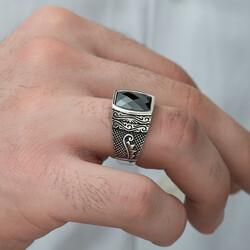 Gümüş Kesme Taşlı Desenli Erkek Yüzük - Thumbnail