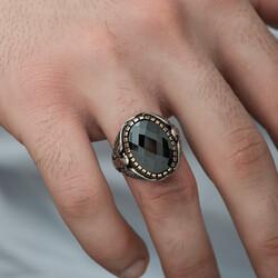 Gümüş Kesme Taşlı Kartal Figürlü Erkek Yüzük - Thumbnail