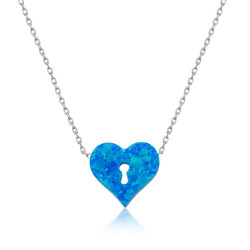 Gumush - Gümüş Kilitli Kalp Bayan Kolye