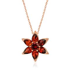Gumush - Gümüş Kırmızı Çiçek Kolye