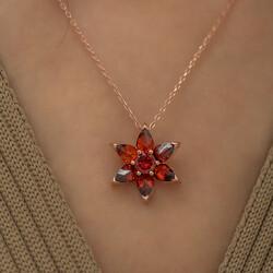 Gumush - Gümüş Kırmızı Çiçek Kolye (1)